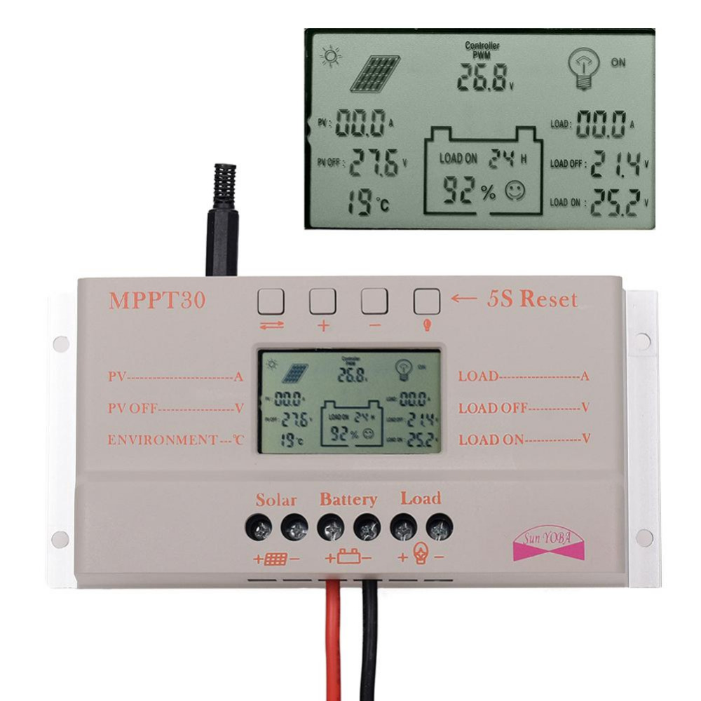 ФОТО LCD 30A MPPT Solar Panel Regulator Charge Controller 12V/24V 380W/760W With USB