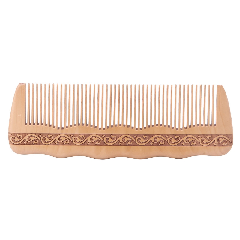 Hair Engraved Natural Peach Wood Wooden Comb Anti-Static Combs For Makeup