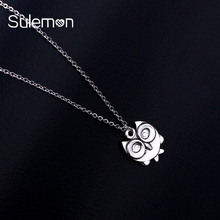 Fashion Owl Pendant Stainless Steel Necklace For Women&Men Trendy Animal Metal Mini Owl Necklaces Jewelry SN74