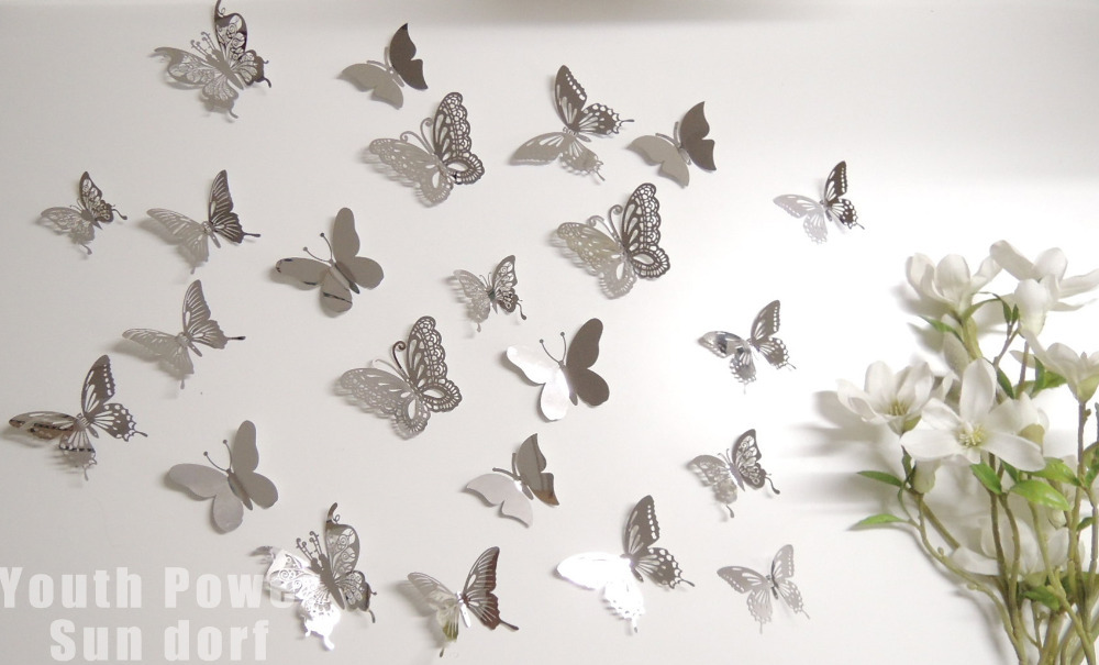 stainless steel wall decorations 24pcslot 3d wall sticker beautiful butterfly 4 sizes silver