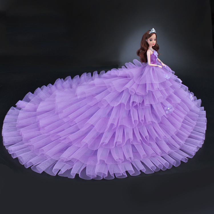 NK 2019 Princess Doll Clothes Handmake Long Tail Wedding Dress Fashion Evening Party Outfit For Barbie Doll Accessories C054 JJ