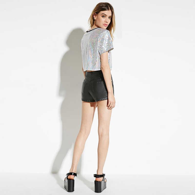 b4431e6e8b0 ... Summer Fashion Rock Bling Bling O Neck Short Sleeve Sequined Tee Shirt  Silver Crop Tops T