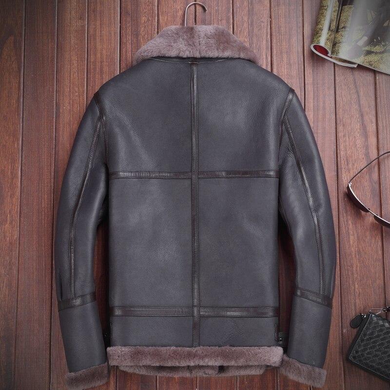 Laine Dark Réel Hiver Agneau Moto Cuir Mouton Pour Mode Hommes Blue Peau Veste Véritable Manteaux Vho De Chaud En Aviateur UpSVzM