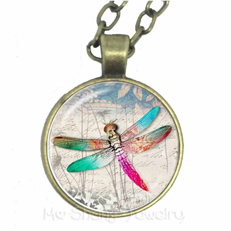 Dragonfly ช้างชีวิตต้นไม้สร้อยคอนาฬิกา Vintage แว่นขยายแฟชั่นสัตว์ Cool เครื่องประดับ