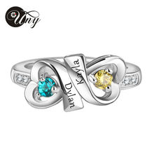 UNY 925 Sterling Silver Special Customized Engrave Gold Plated Personalized Family Valentine's gift Heart Shape Birthstone Ring