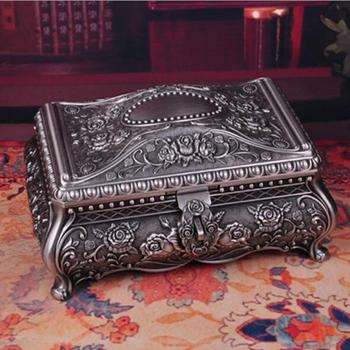 Metal trinket box Vintage Flower Carved Design Jewellery Storage