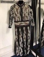 High Quality black long dress for women summer three quarter dress fashion embroidery dress