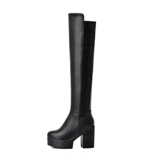 Sexy female boots age season knight boots woman with thick with black and white high plus velvet high boots knee-high boots doctor recommend healthcare supplies help woman encounter with age with vaginal massager