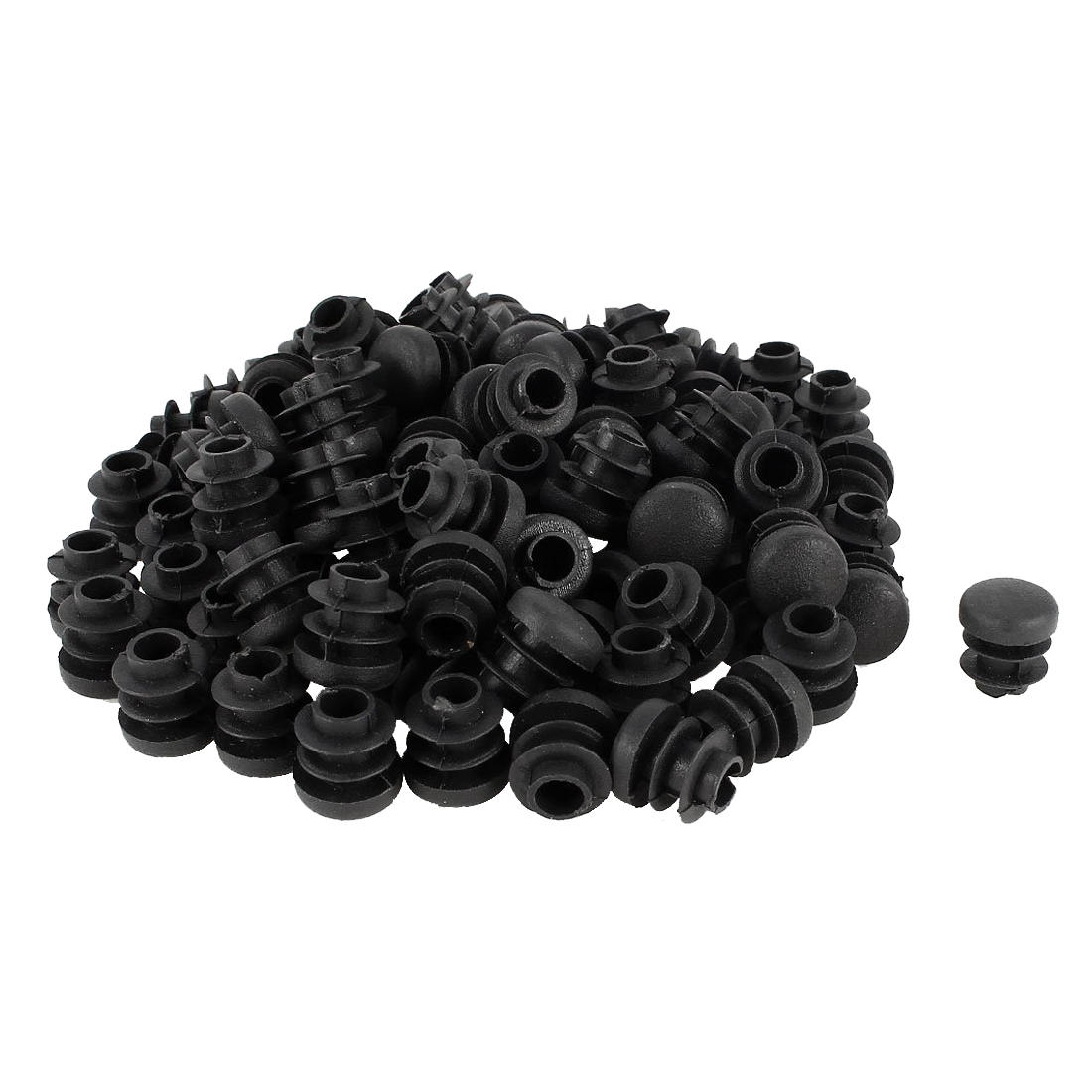 Hot Sale 100 Pcs Plastic Blanking End Cap Round Tube Inserts 14mm Dia Black