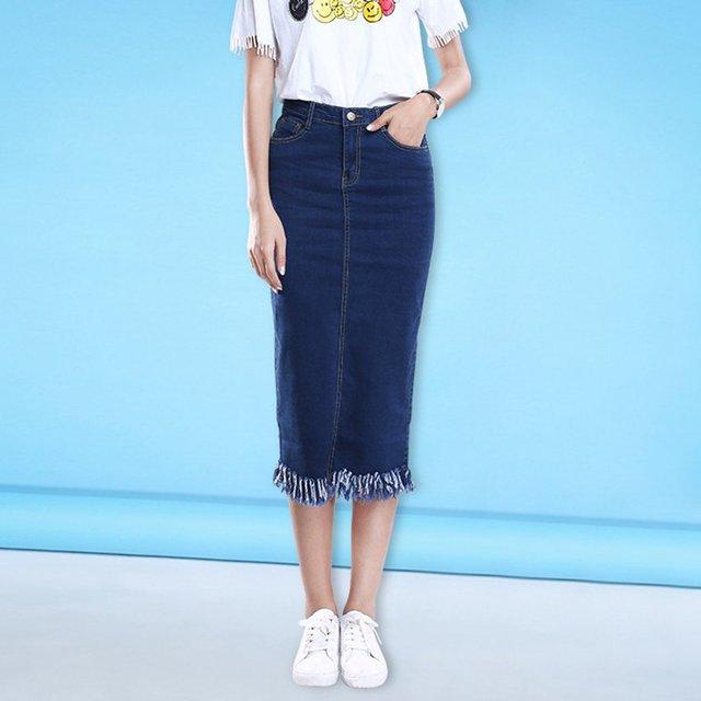 0901 borla Faldas Mujer Denim Falda Primavera Verano saia jeans 2018 Denim  faldas Vintage una 341b6cbb6880