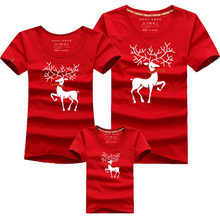 Christmas Mom Daughter Clothes Father Son Matching Clothing Family Look Cartoon Milu Deer Family Clothing Dad Mom Boy T-Shirt(China)