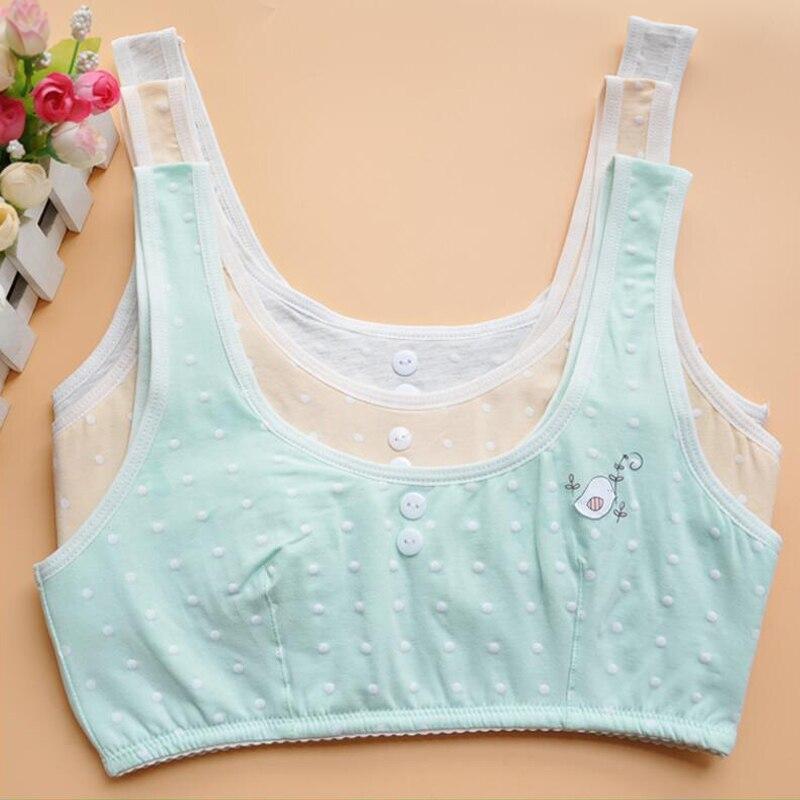 2018 High Quality Dot Girl Bra Training Bra Kids Bra Teenage Underwear Cotton Bra Young Student Puberty Lingerie240