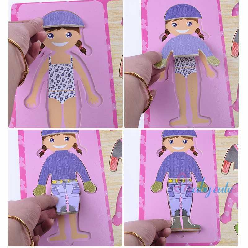 Bebê Brinquedos Educativos De Madeira Modelo Buliding Bloco Mutável Pano Terno Desgaste Aprendizagem Precoce DIY Juguetes Presente Para As Crianças