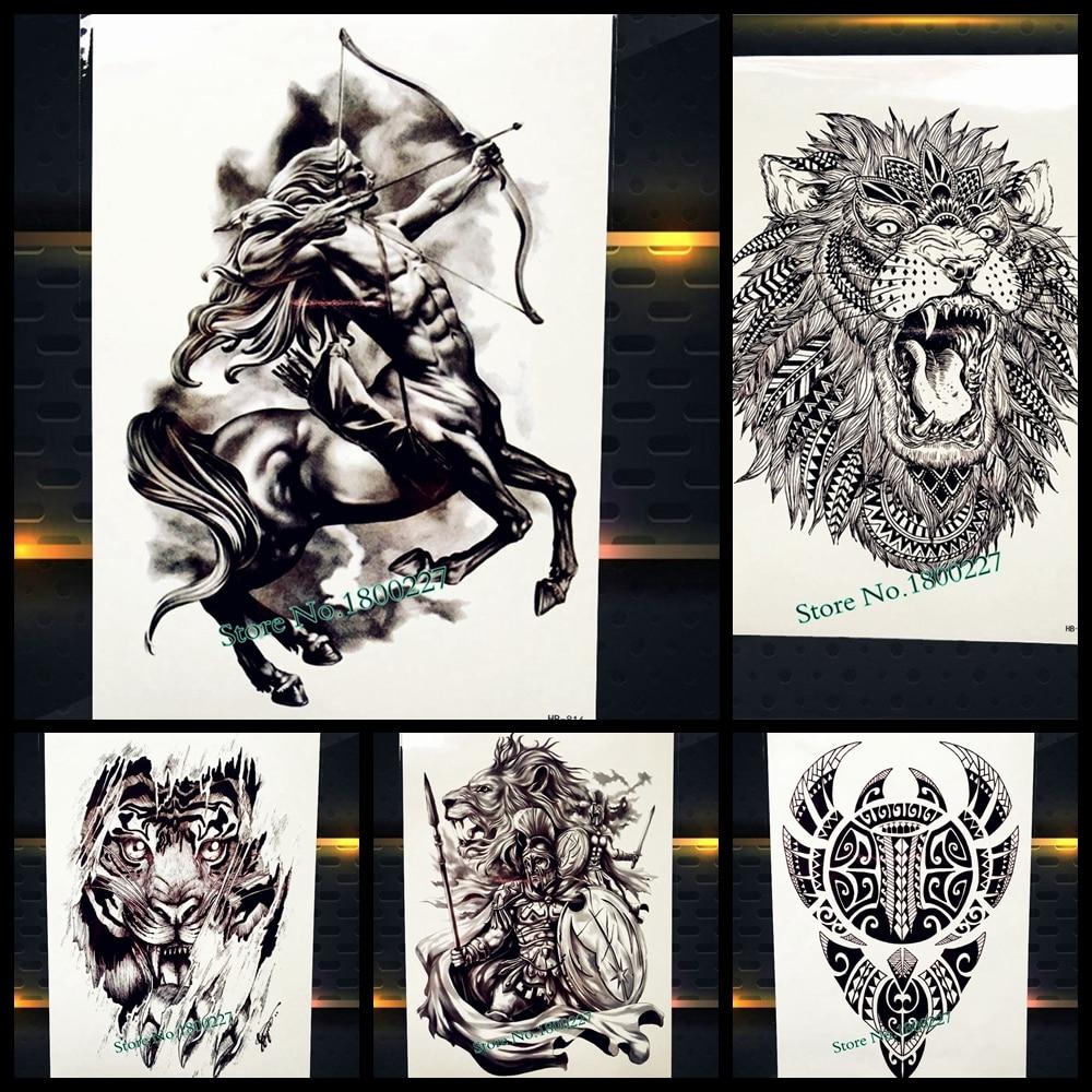 New Greek Mythology Centaur Temporary Tattoo Sagittarius Design Arm Tatoo For Men Women Body Art Fake Waterproof Tattoo Stickers