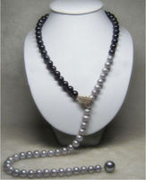 Hot sale A>latest design south sea black gray natural pearl necklace 32 yellow clasp k a