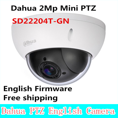 Hot Sale Dahua 2Mp Full HD Network Mini PTZ Speed Dome 4x optical zoom Outdoor Camera SD22204T-GN English Firmware Free shipping english firmware ptz camera ds 2de7184 a 2mp hd 1080p ptz speed dome camera ip66