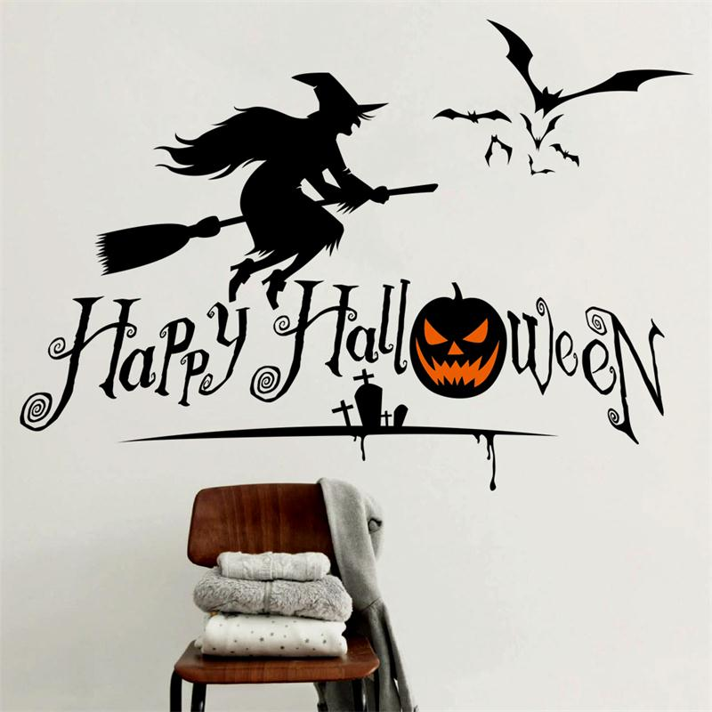 newest halloween broom sorcerer pumpkins bats home decor wall stickers funny party kids gift sticker shop