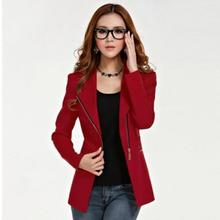 แฟชั่นผู้หญิงเสื้อแขนยาวสำนักงาน Lady Zipper Blazer ชุดสูท SLIM FIT Lapel แจ็คเก็ตเสื้อโค้ทโพลีเอสเตอร์อย่างเป็นทางการ Outwear