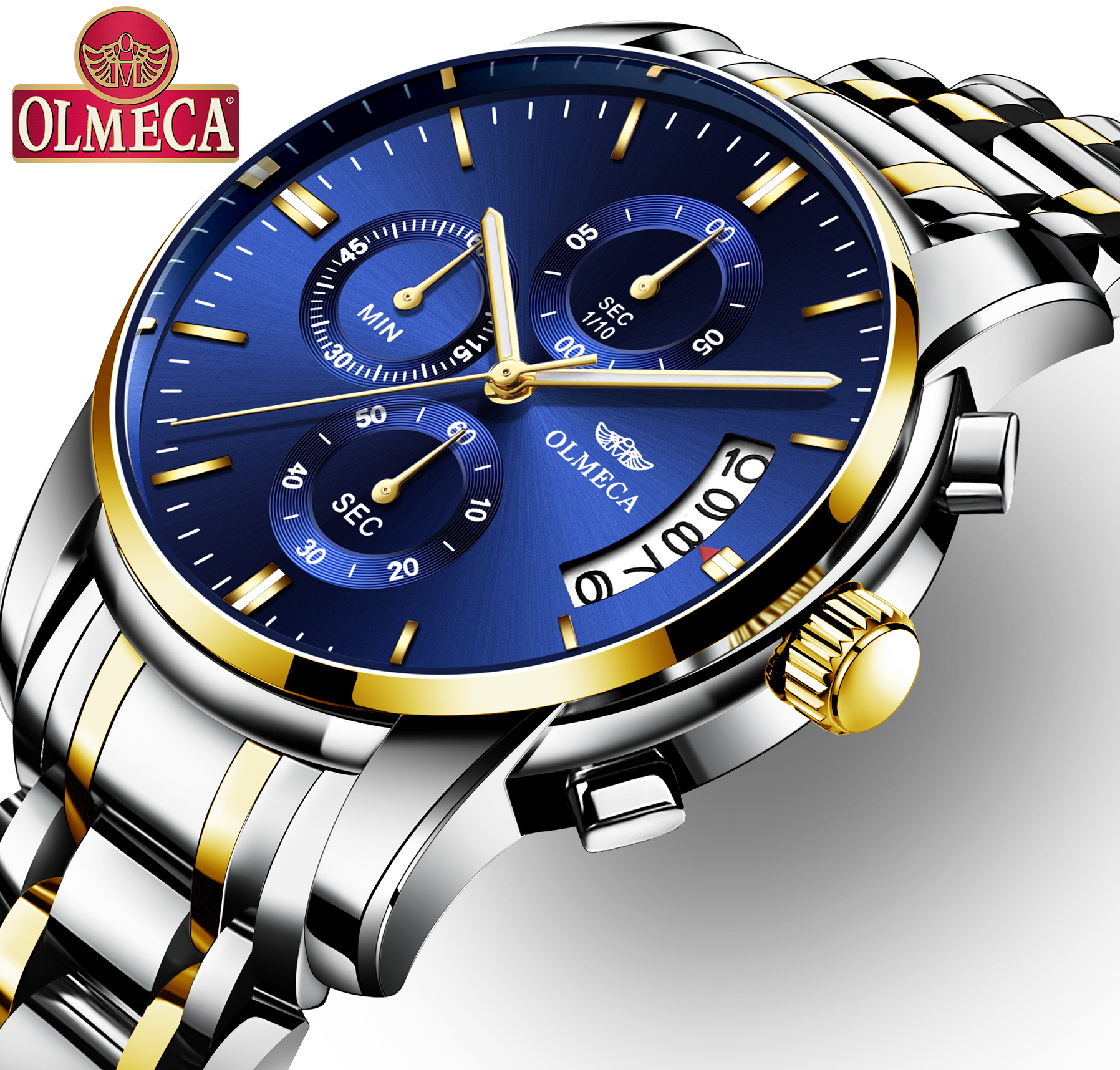 OLMECA Relogio Masculino Men Watch Luxury Watches 3ATM Waterproof Clock Chronograph Wristwatch Leather Band watches for
