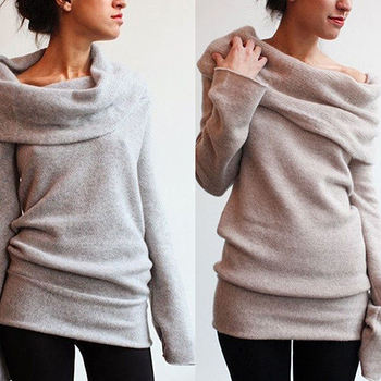 New Arrival Women Sexy Casual Off Shoulder Roll Neck Long Sleeve Knitted Jumper Sweater Top 4