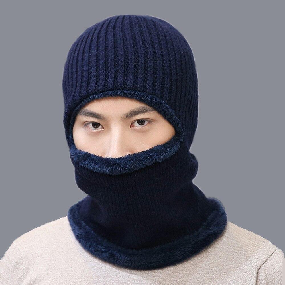 2018 Neck warmer cap scarf set fur Wool velvet Thick Warm Knitted beanies balaclava Winter beanies For men women Skullies bonnet