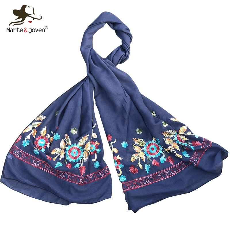 Marte&Joven Colorful Flower Embroidery Elegant Ladies Cotton Scarf Ethnic Style Floral Long Scarves Beautiful Women Hijab Shawls