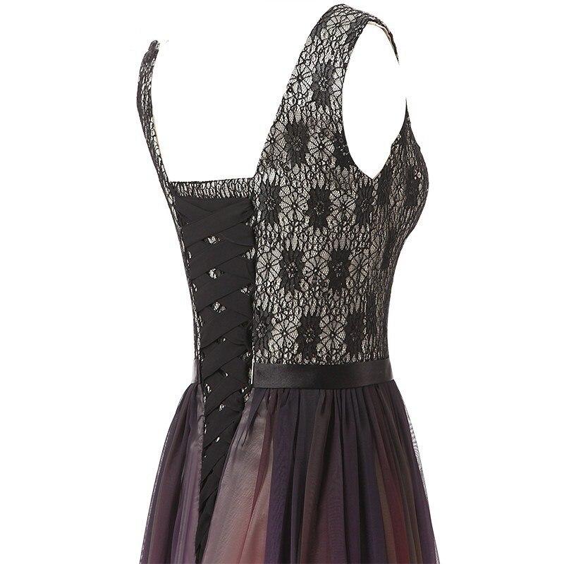 Col en v Ombre robes de soirée Vestido Longo perlée robe de bal 2019 dégradé en mousseline de soie bal longue élégante robe pour femme de grande taille - 5