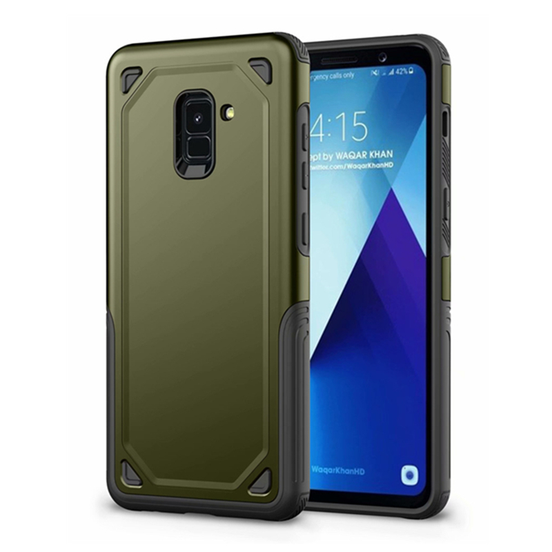 Luxury Military Shockproof Rugged Armor Phone Case For Samsung Galaxy A6 A8 Plus 2018 Hybrid Silicon Slim Rugged Protect Cover