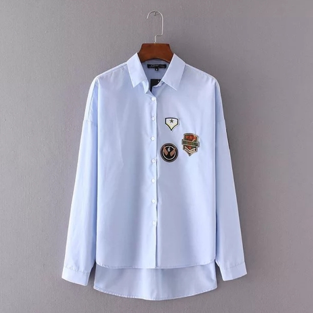 new 2017 Fashion Women badge decorate Solid color Long sleeve Shirts Loose elegant blouses Casual Tops Blusa Feminina S937
