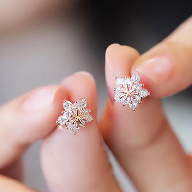 Fashion Korean Cute Gold Tone Crystal Rhinestone Snowflake Ear Stud Earrings Jewelry For Women Xmas Gift In From Accessories On