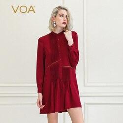 VOA Wijn Rode Zijde Blouse Vrouwen Shirt Jurk Casual Retro Office Dames Tops Fall Lange Mouwen Luxe Kleding Losse Befree b873