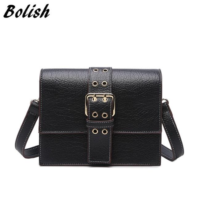 35bd295ee4 Bolish Brand Casual Pu Leather Handbag Women Shoulder Bag Small Size Flap Women  Bag Black Color Female Messenger Bag