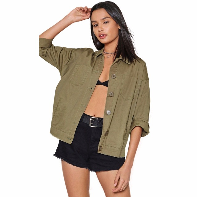 4b60e7db10 Army green long sleeve turn down collar button down letter print cotton  jackets for women ladies casual boyfriend loose coats