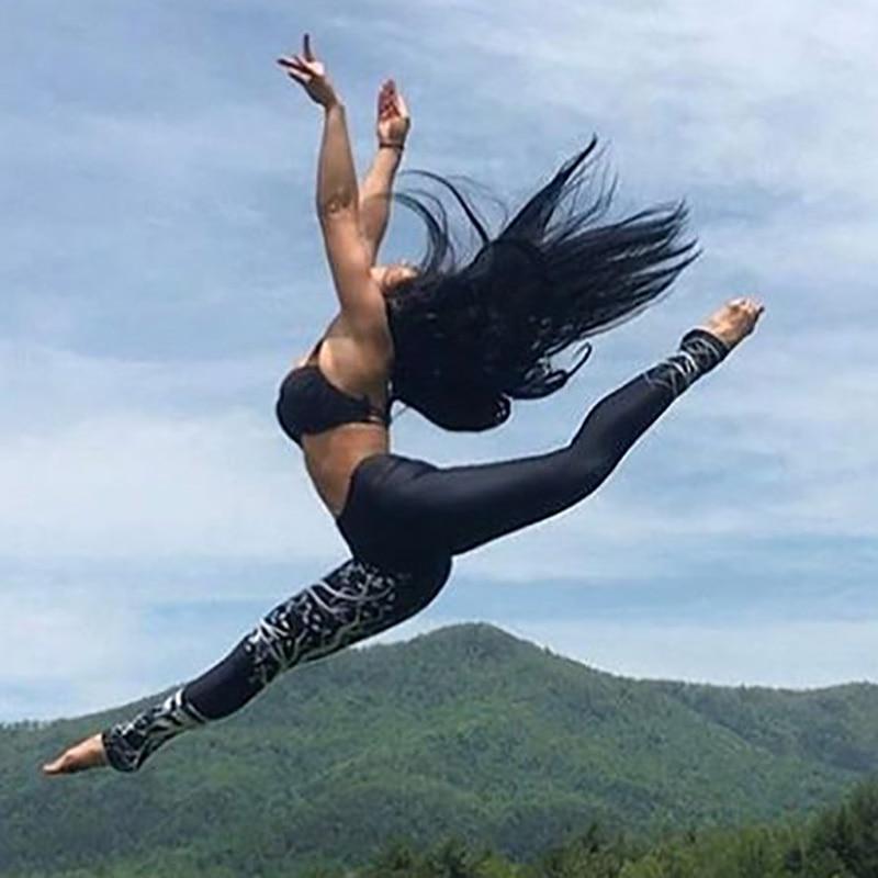Kostlich Spring Tree Print Women Workout Leggings Put Hip Elastic High Waist Fitness Legging Breathable Slim Pants Women Leggins (6)