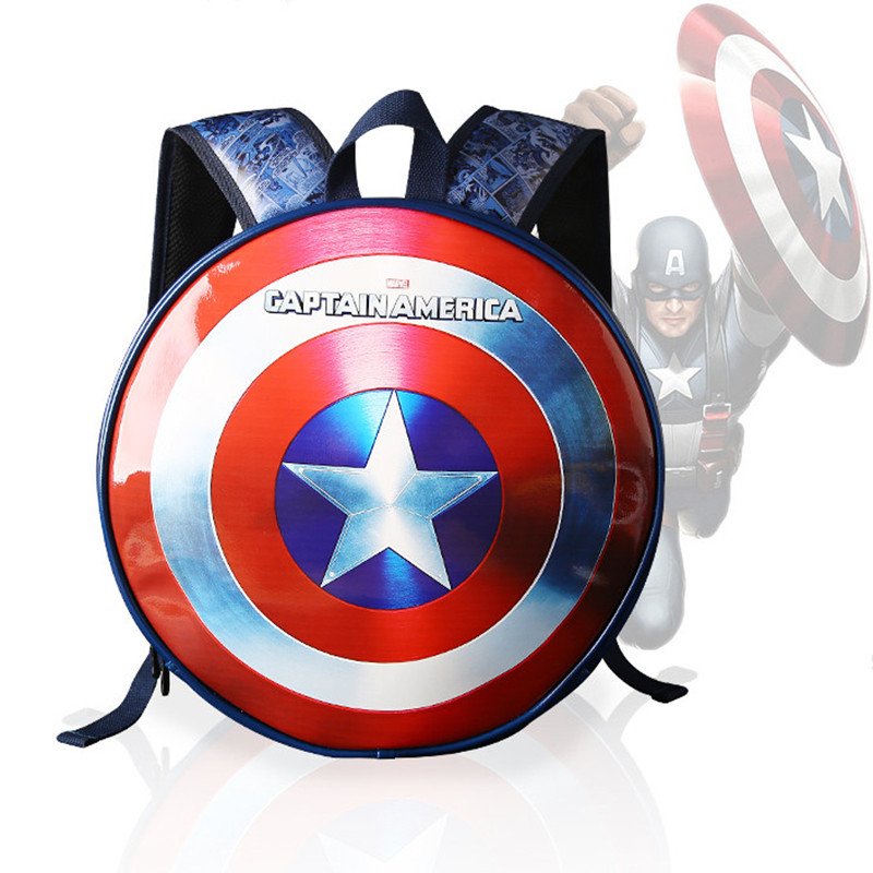 Famous Brand School Backpack  The Avengers Captain America Iron Man Fashionable Laptop Backpacks High Quality Leather