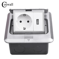 Coswall All Aluminum Silver Panel Pop Up Floor Socket 16A Russia Spain EU Standard Power Outlet With USB Charging Port 5V 1A
