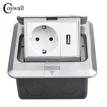 Coswall todo el Panel de aluminio plateado Pop Up Floor Socket 16A Rusia España EU toma de corriente estándar con puerto de carga USB 5 V 1A