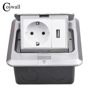Coswall tout aluminium panneau argenté Pop Up prise de sol 16A russie espagne EU prise de courant Standard avec Port de charge USB 5 V 1A