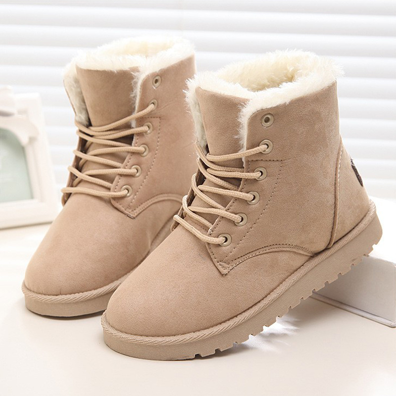 2017 New Arrival Women Boots Snow Warm Winter Boots Botas Ankle Boots Mujer Fur Ladies Shoes Winter Shoes Red Black Fashion 2016 rhinestone sheepskin women snow boots with fur flat platform ankle winter boots ladies australia boots bottine femme botas