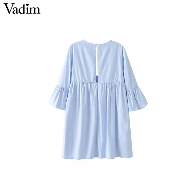 Vadim women sexy V neck pleated dress back cut out pockets flare sleeve solid ladies summer casual mini dresses vestidos QZ3135