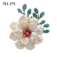 Pulatu Austrian crystal Brooch Pins Natural Pearl Flowers Pink Coral Stamens Women Brooches Fashion Jewelry Vintage Brooch Gifts