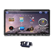 "Rear camera+7"" HD Touch Screen double 2 in Car stereo Radio In Dash GPS Navigation Car DVD CD Interchangeable Player BT iPod TV"