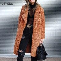2018 Fashion Warm Women Coat Long Sleeve Turn down Collar Open Stitch Loose Coat Casual Work Elegant Long Women Coat Winter