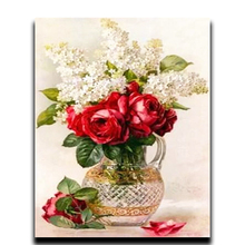 DIY Diamond Cross Stitch Painting Diamond Embroidery Gold 3D RED FLOWER Square Rhinestone Resin Full Image Mosaic square resin full color filter for dslr red