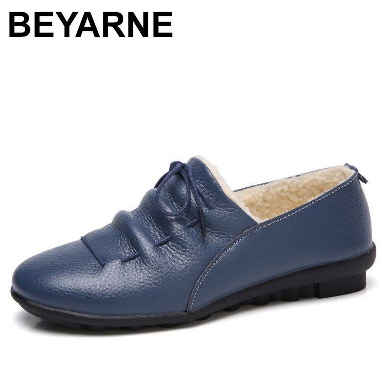BEYARNE Cow Leather Women Shoes Keep Warm Cotton Shoes Woman Shallow Female Flats Fur Loafers Plush Winter Mother Shoe sexemara fashion handwork genuine leather real wool fur women shoes loafers peas shoes woman warm winter flats shoes