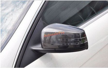 Carbon fiber side Door Rearview mirror cover Trim For Mercedes Benz C Class W204 2010 2011 2012 2013