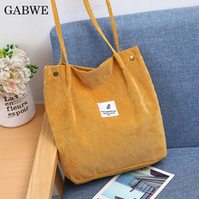GABWE Women High Capacity Corduroy Tote Ladies Casual Solid Color Shoulder Bag Foldable Reusable Shopping Beach