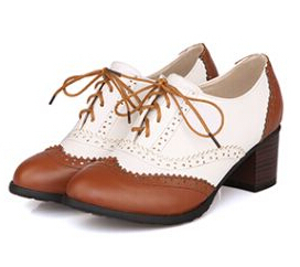 New Plus Size 34-43 Thick Heel High Heels Oxford Shoes For Women Fashion Vintage British Style Lace Up Women Pumps Shoes Woman new 2015 autumn flat t strap oxford shoes for women vintage british style round toe low thick heels women oxfords shoes woman