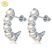Hutang Natural Pearl Stud Earrings New Brand Freshwater Cultured Pearl 925 Sterling Silver Fine Jewelry for Women's Best Gift