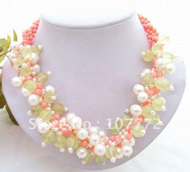 4 strands Pearl Natural Green Garnet Pink Coral Necklace